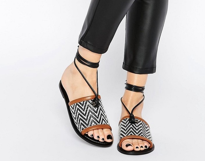 ASOS FETCH LEATHER TIE SANDALS