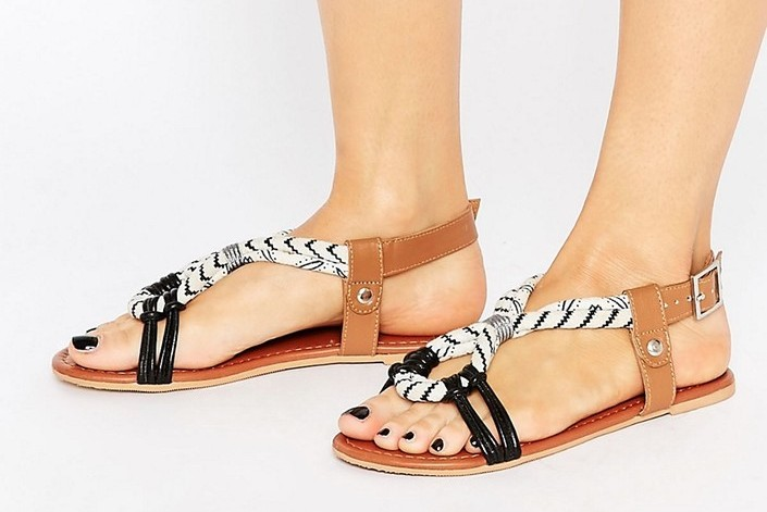 ASOS-FUSE LEATHER FLAT SANDALS