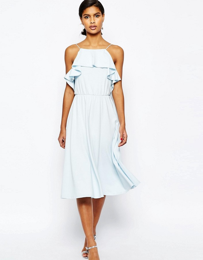 asos ruffle blue dress