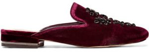 MICHAEL KORS VELVET SLIPPERS - BURGUNDY
