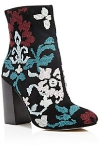 REBECCA MINKOFF BOJANA EMBROIDERED HIGH HEEL BOOTIES