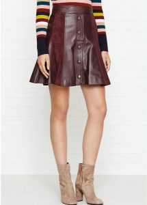JUST CAVALLI BUTTON LEATHER A LINE SKIRT