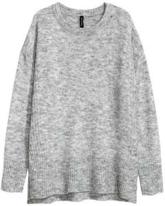 H&M OVERSIZED SWEATER - GRAY - LADIES