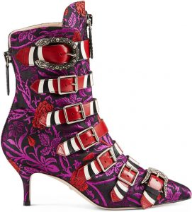 FLORAL JACQUARD BUCKLE ANKLE BOOT