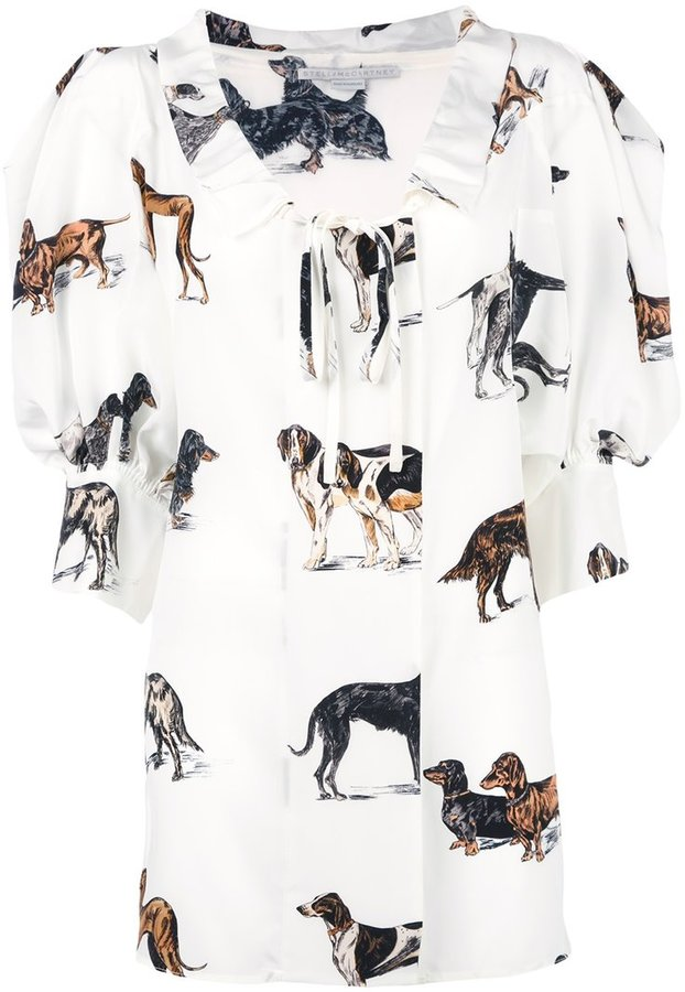 Stella McCartney crinkled neck dog blouse