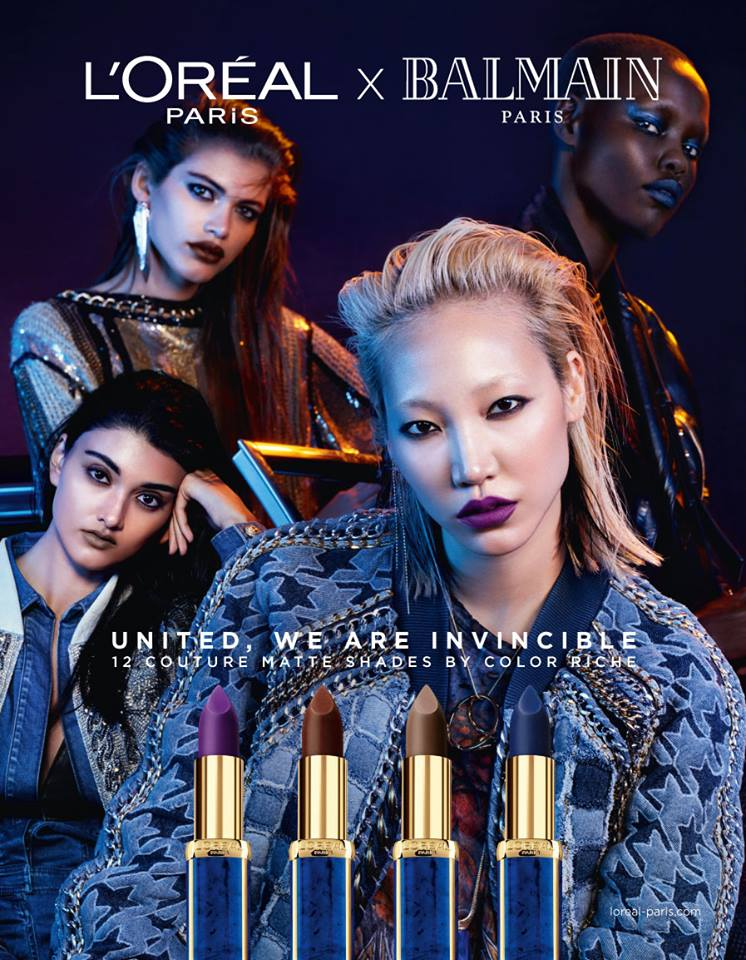 L'OREAL X BALMAIN models beauty lips