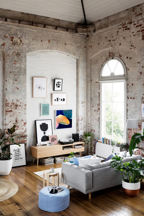 Raw white interiors - living