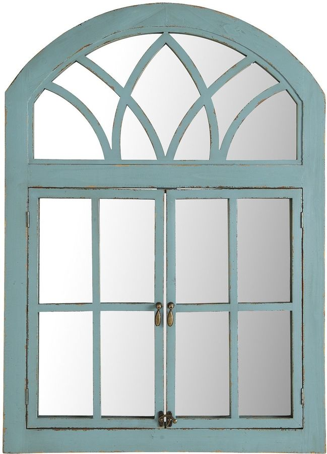 Turquoise Garden Window Mirror