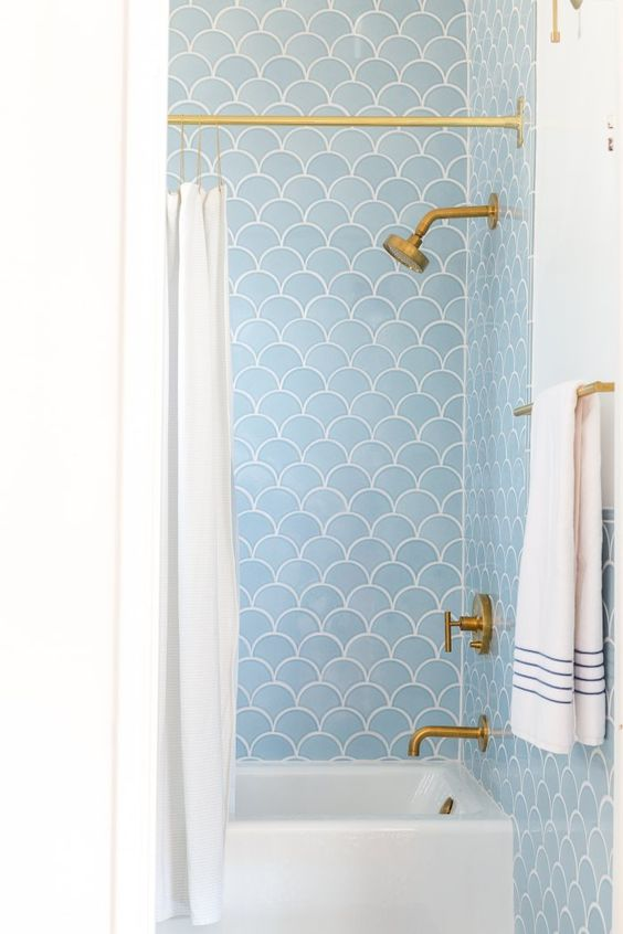 bathroom style decor blue-white