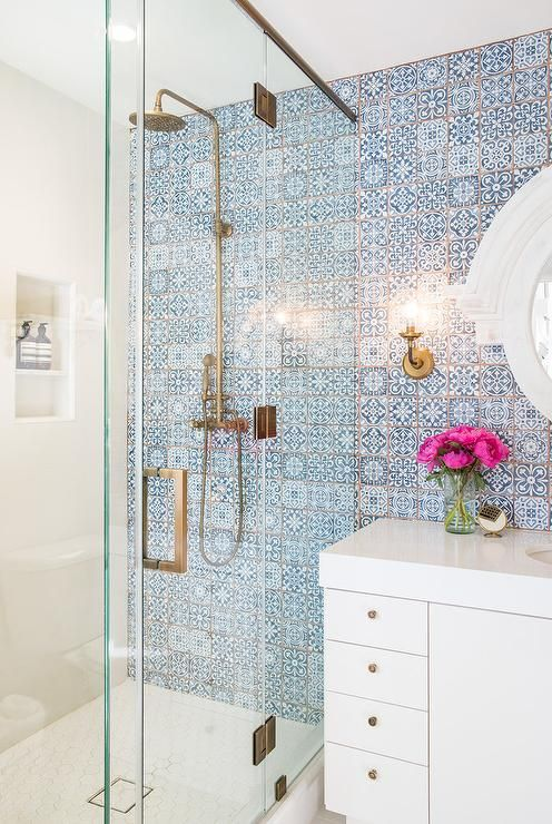bathroom tiles shower blue