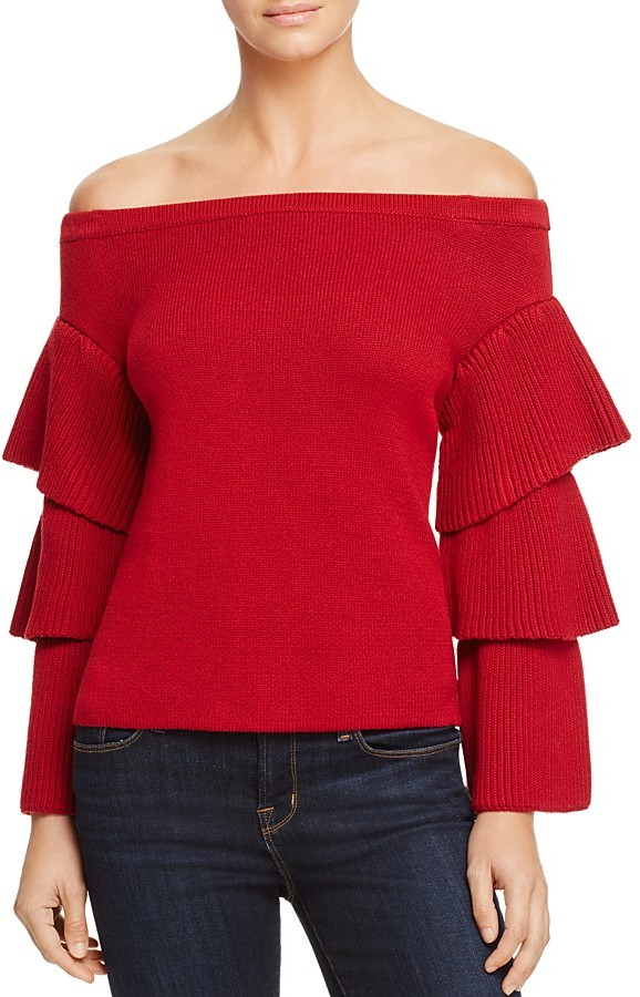 Endless Rose Tiered Sleeve Off-the-Shoulder Sweater