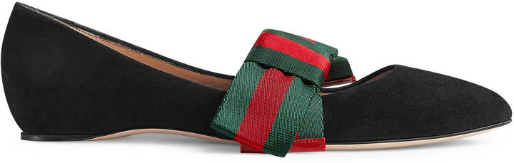 Gucci Suede ballet flat bow