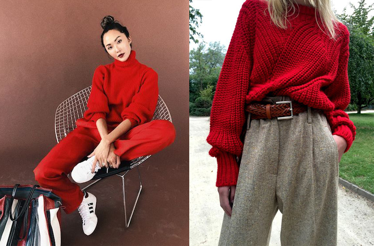 red sweaters fw17 look