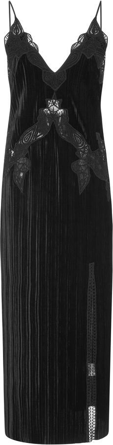Jonathan Simkhai Lace Applique Midi Velvet Dress