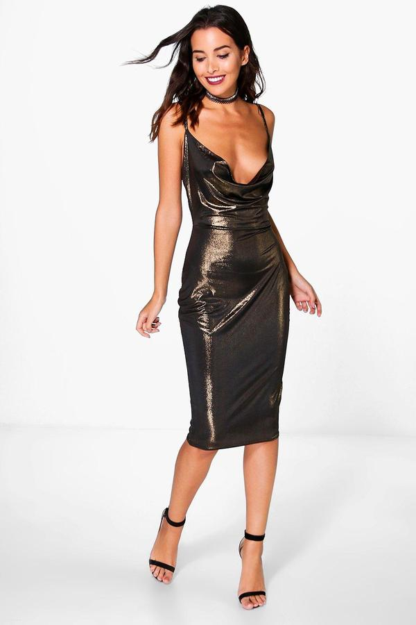 boohoo Pearl Metallic Strappy Cowl Neck Midi Dress