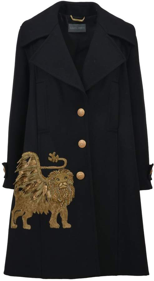 Alberta Ferretti Black Embroidered Coat