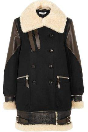 Altuzarra Ismir Shearling And Leather-Trimmed Wool-Blend Felt Coat