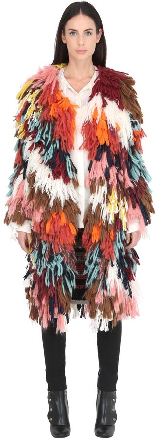 Wool & Silk Multicolor Yarn Coat