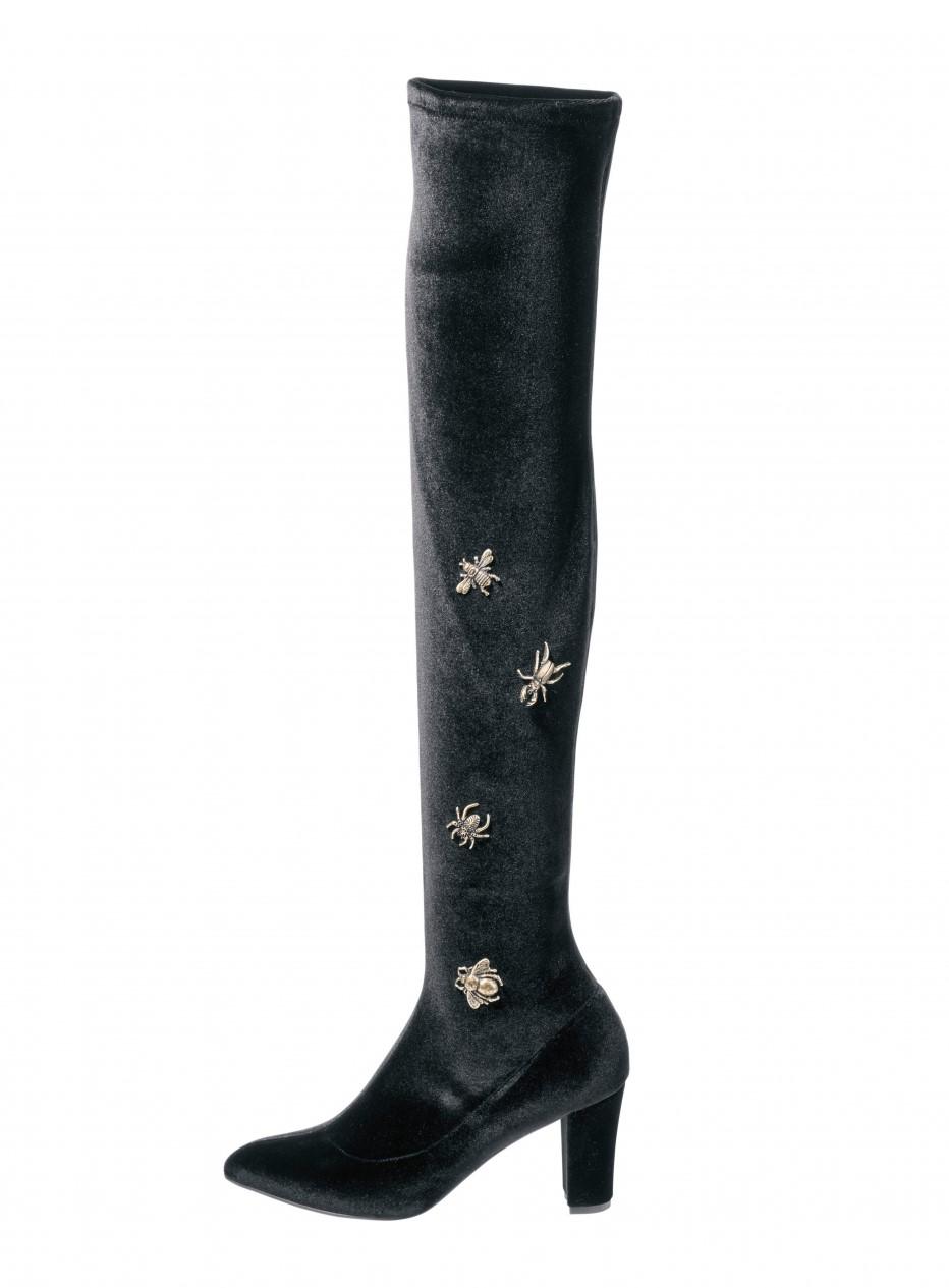 heine thigh high boots velvet