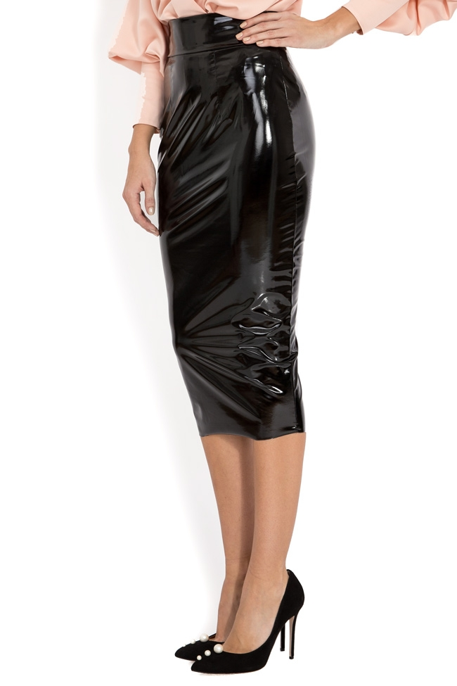 baden11 latex midi skirt wear